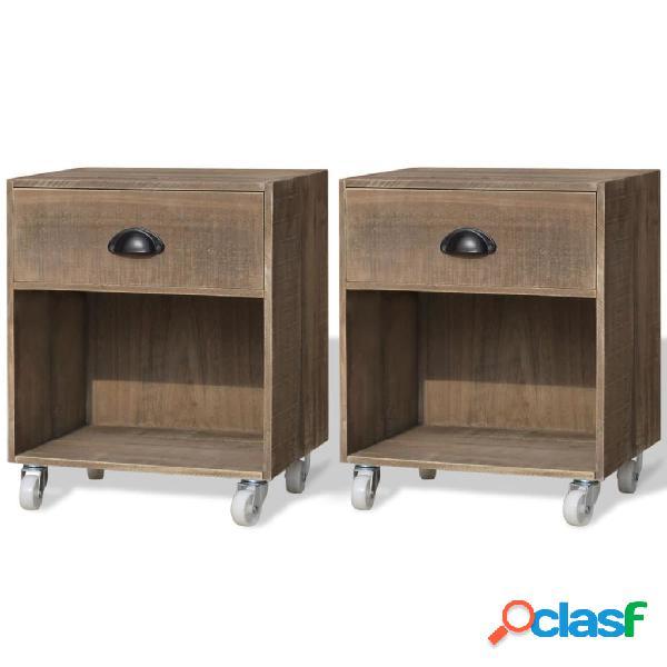 Vidaxl mesas de cabeceira 2 pcs madeira sólida castanho
