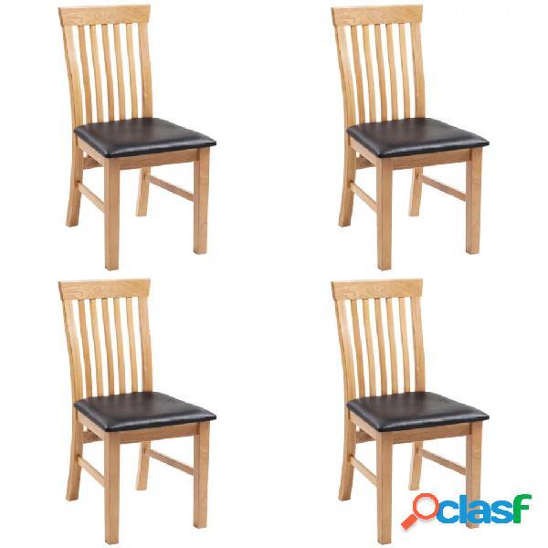 Vidaxl cadeiras jantar 4 pcs madeira carvalho maciça/couro artificial