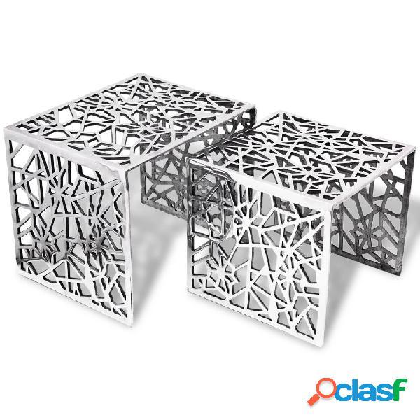 Vidaxl mesas de apoio quadradas, 2 pçs, alumínio prateado