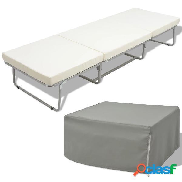 Vidaxl cama dobrável com colchão aço 70x200 cm branco