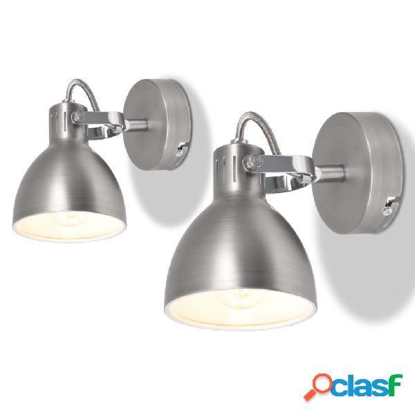Vidaxl candeeiro de parede 2 pcs para 2 lâmpadas e14 cinzento