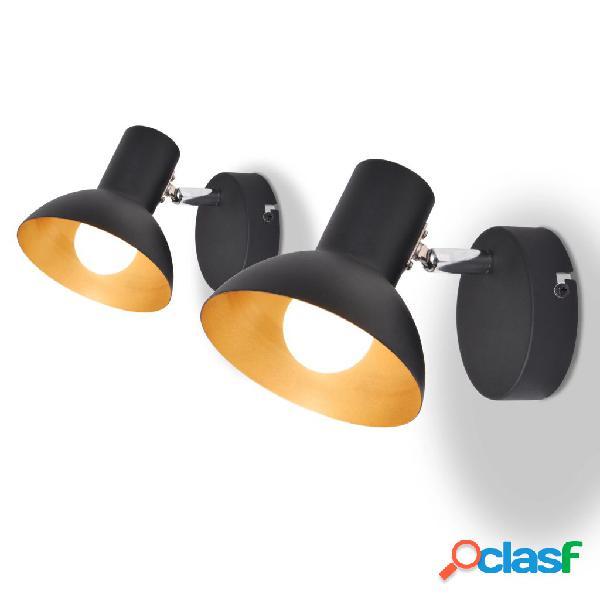 Vidaxl candeeiros de parede 2 pcs p/ 2 lâmpadas e27 preto e dourado