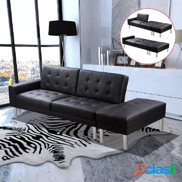 Vidaxl sofá-cama em couro artificial preto