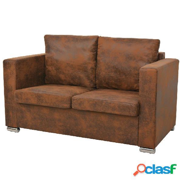 Vidaxl sofá de 2 lugares 137x73x82 cm camurça artificial