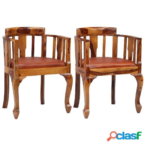 Vidaxl cadeiras jantar 2 pcs couro genuíno + madeira sheesham maciça