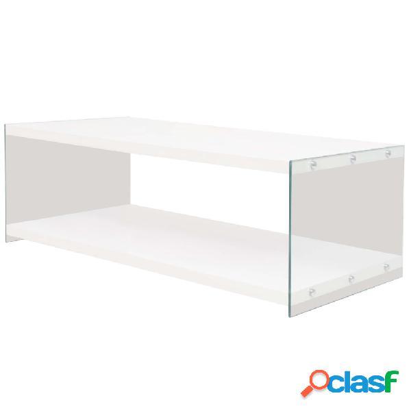 Vidaxl mesa de centro com prateleira, vidro e mdf, branco brilhante