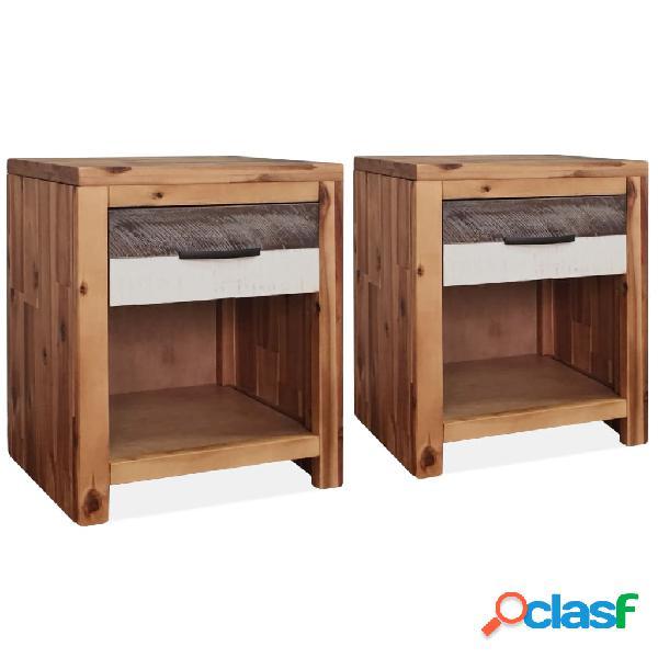Vidaxl mesa de cabeceira 2 pcs em madeira de acácia maciça 40x30x48 cm