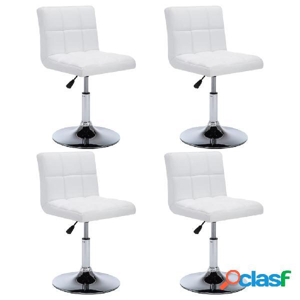 Vidaxl cadeiras jantar giratórias 4 pcs couro artif. 50x43x85cm branco