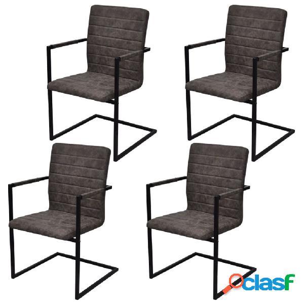 Vidaxl cadeiras de jantar 4 pcs couro artificial castanho