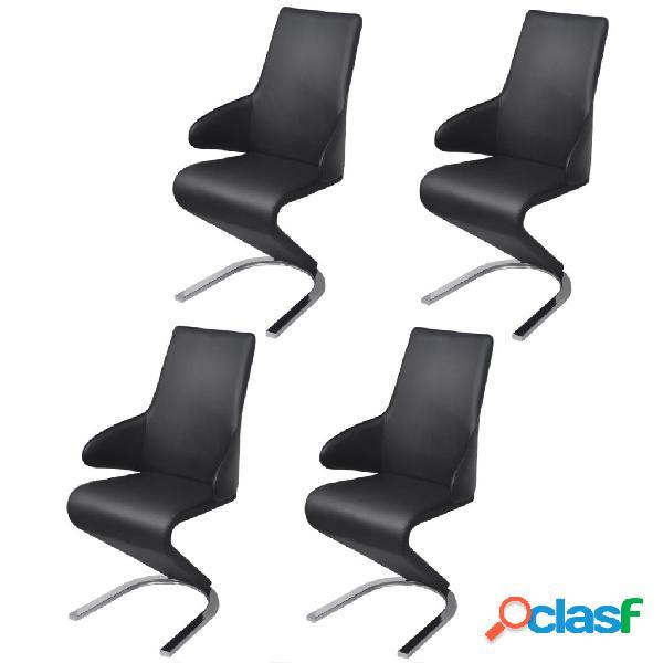 Vidaxl cadeiras de jantar 4 pcs couro artificial preto
