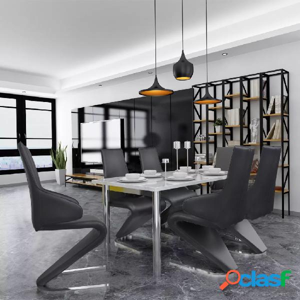 Vidaxl cadeiras de jantar 6 pcs couro artificial preto