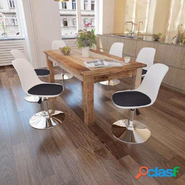 Vidaxl cadeiras jantar giratórias altura ajustável 6 pcs branco/preto