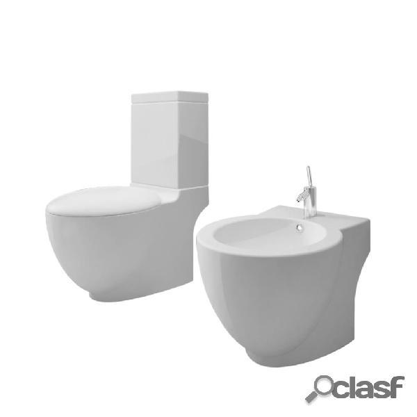 Vidaxl conjunto bidé e sanita, de cerâmica, cor branca