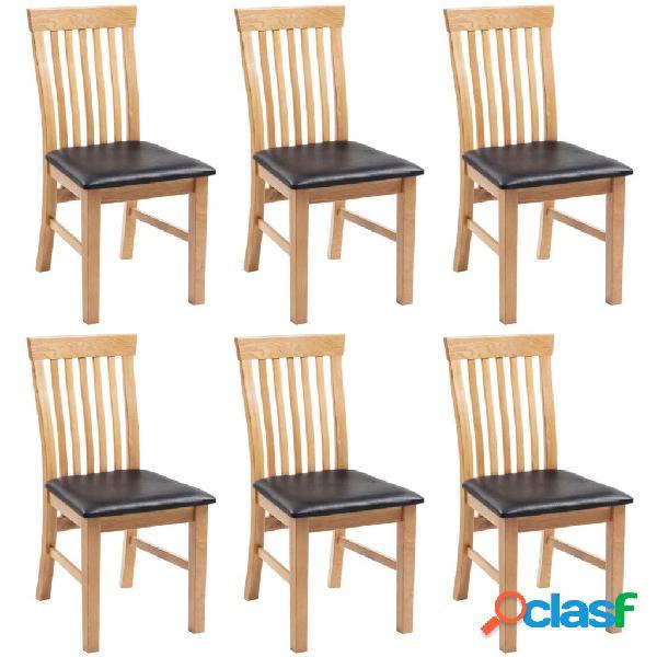 Vidaxl cadeiras jantar 6 pcs madeira carvalho maciça/couro artificial