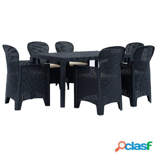 Vidaxl conj. jantar p/ exterior 7 pcs plástico antracite aspeto vime