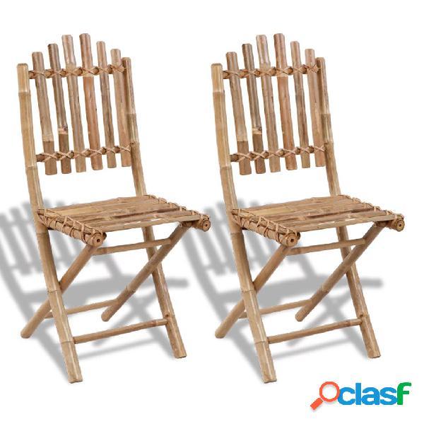 Vidaxl cadeiras de jardim dobráveis 2 pcs bambu