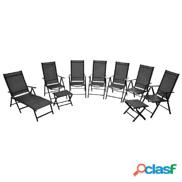 Vidaxl cadeiras de jardim dobráveis 9 pcs alumínio preto