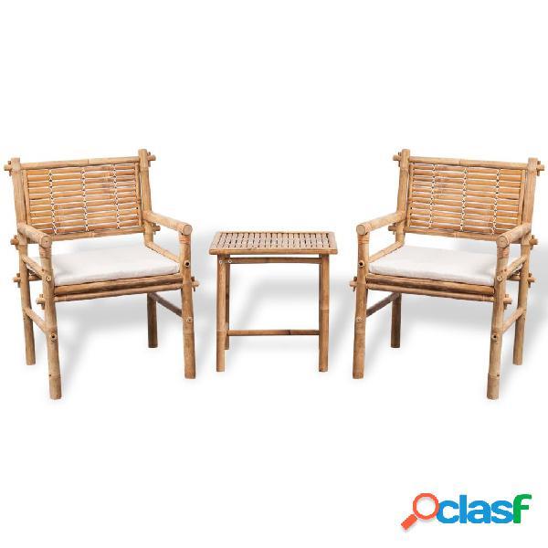 Vidaxl conjunto bistro com mesa lateral e almofadas bambu