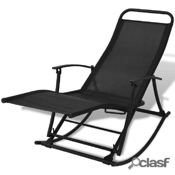 Vidaxl cadeira de baloiço jardim aço e textilene preto