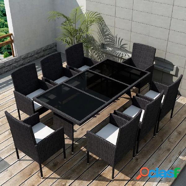 Vidaxl conjunto de jantar para jardim 17 pcs vime preto