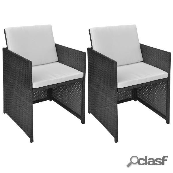 Vidaxl cadeiras de jardim 2 pcs c/ almofadões, almofadas vime pe preto