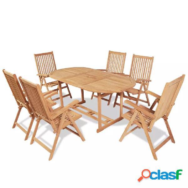 Vidaxl conjunto jantar exterior c/ cadeiras dobráveis 7pcs teca maciça