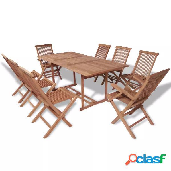 Vidaxl conjunto jantar exterior c/ cadeiras dobráveis 9pcs teca maciça