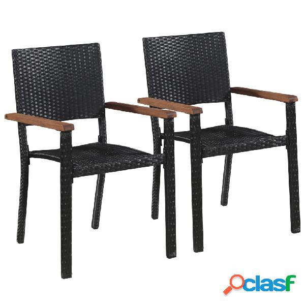 Vidaxl cadeiras de exterior 2 pcs vime pe preto