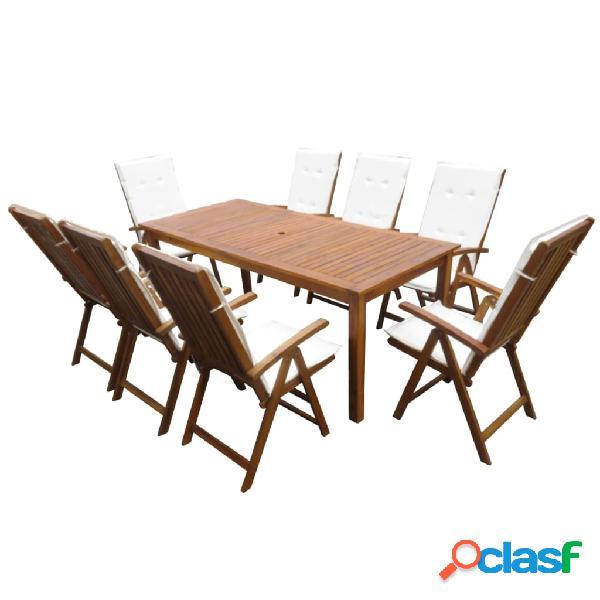 Vidaxl conjunto de jantar para jardim 17 pcs madeira de acácia maciça