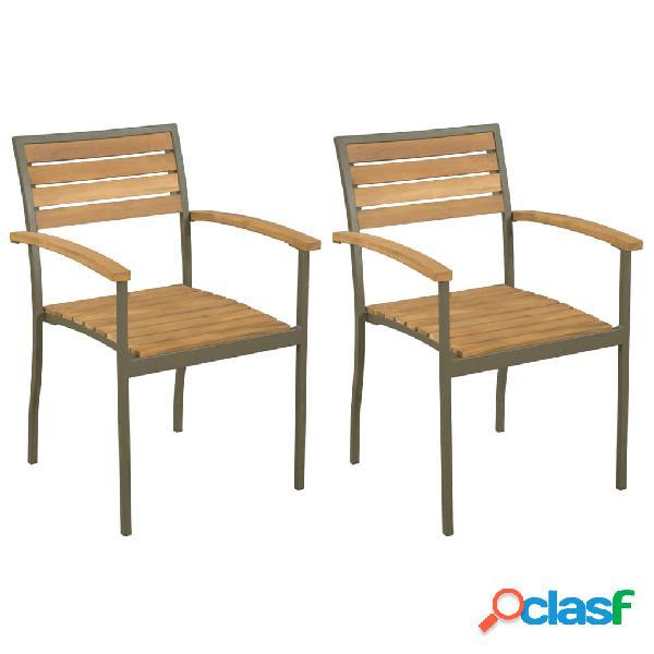 Vidaxl cadeiras de jardim empilháveis 2 pcs madeira acácia maciça/aço