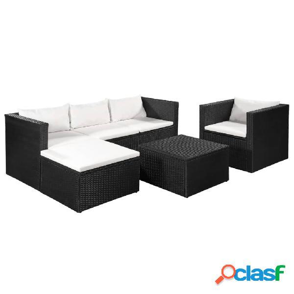 Vidaxl 4 pcs conjunto lounge para jardim vime pe preto e branco