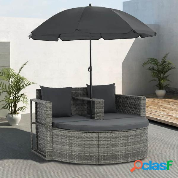 Vidaxl sofá jardim 2 lugares vime pe cinzento almofadões e guarda-sol