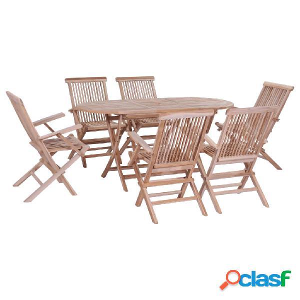 Vidaxl conjunto jantar dobrável p/ exterior 7 pcs madeira teca maciça