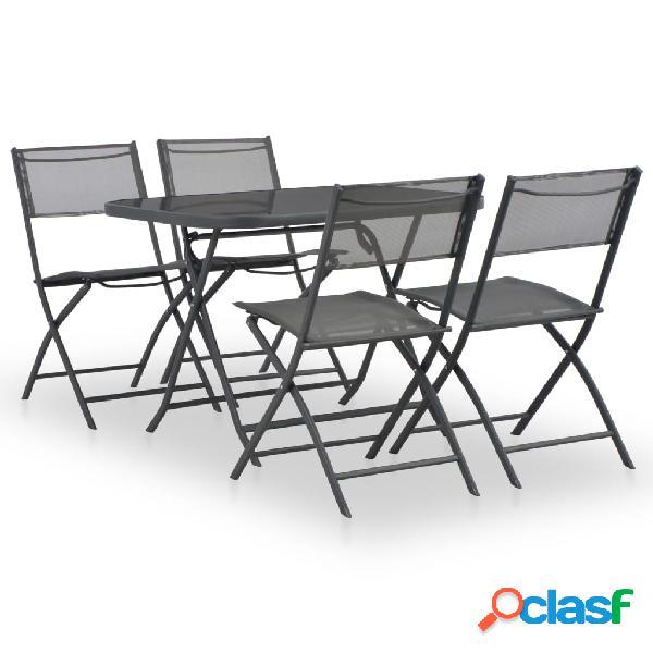 Vidaxl conjunto de jantar dobrável p/ exterior 5 pcs aço e textilene