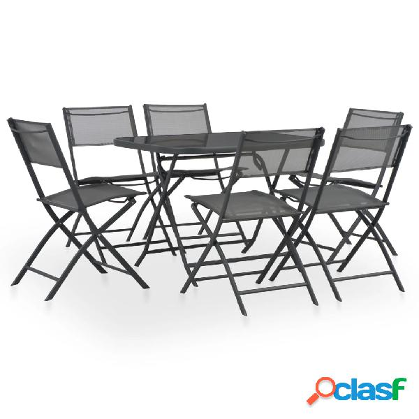 Vidaxl conjunto de jantar dobrável p/ exterior 7 pcs aço e textilene