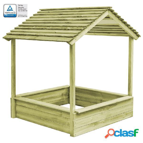 Vidaxl casa de brincar exterior c/ caixa areia 123x120x145cm pinho fsc