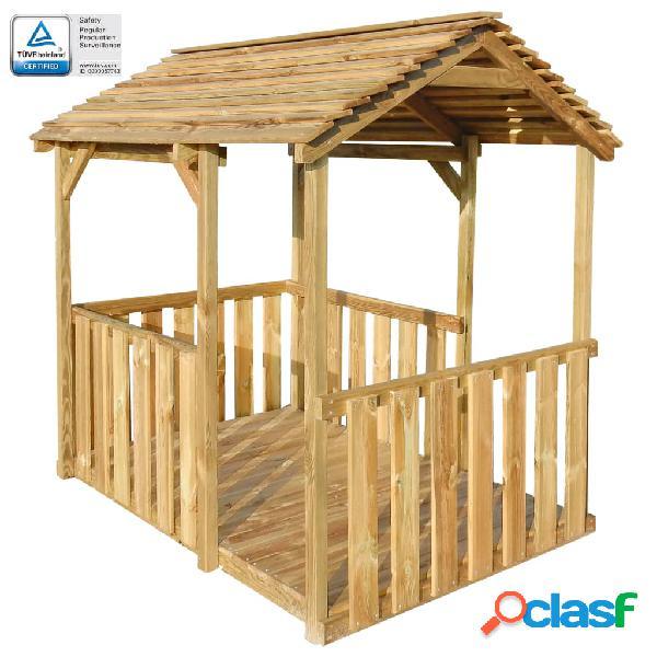 Vidaxl pavilhão/casa de brincar de exterior 122,5x160x163 cm pinho