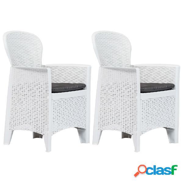 Vidaxl cadeiras jardim c/ almofadão 2 pcs plástico branco aspeto vime