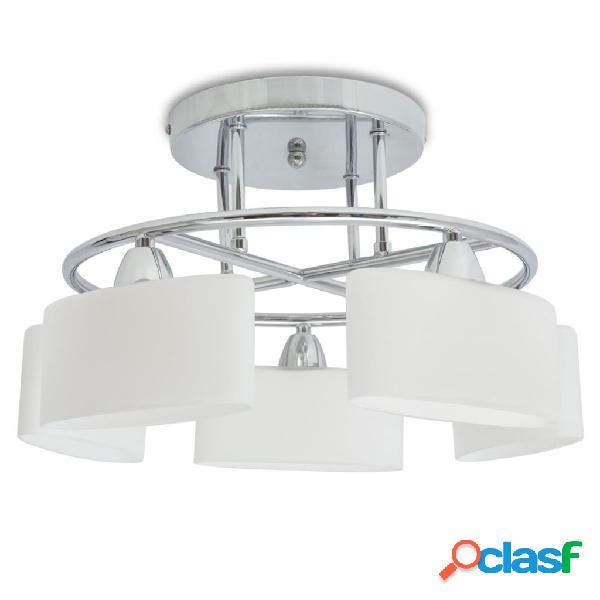 Vidaxl candeeiro teto abajures de vidro elipsoides 5 lâmpadas e14 200w