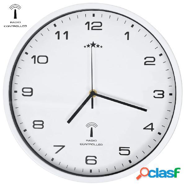 Vidaxl relógio parede controlo p/ rádio mecanismo quartzo 31cm branco