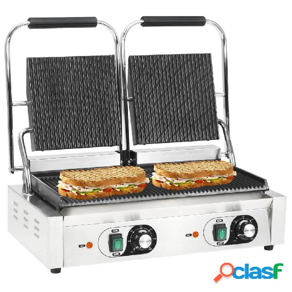 Vidaxl grelhador sanduicheira panini dupla 3600 w 58x41x19 cm