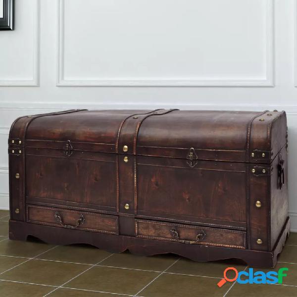 vidaXL Cofre clássico de tesouro feito de madeira - mesa de café castanha