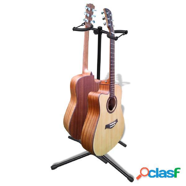 Vidaxl suporte duplo para guitarra, ajustável, dobrável