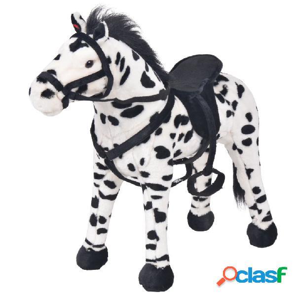 Vidaxl brinquedo de montar cavalo peluche preto e branco xxl