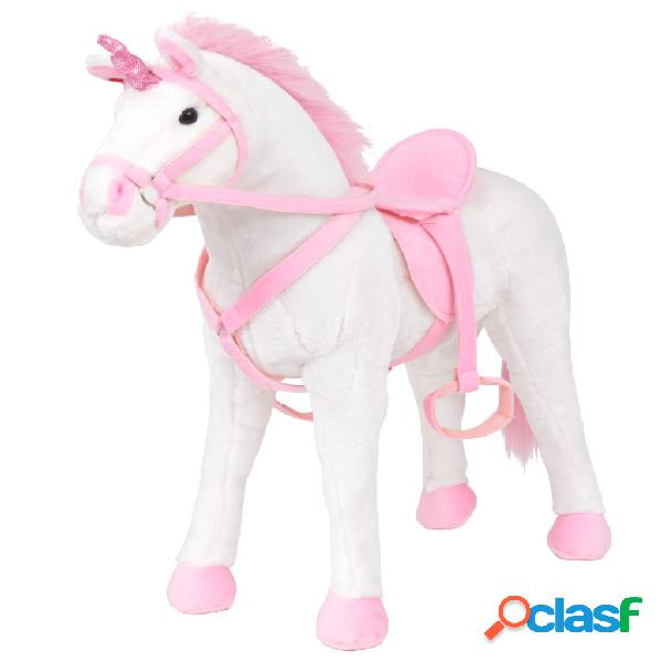 vidaXL Brinquedo de montar unicórnio peluche branco e rosa XXL