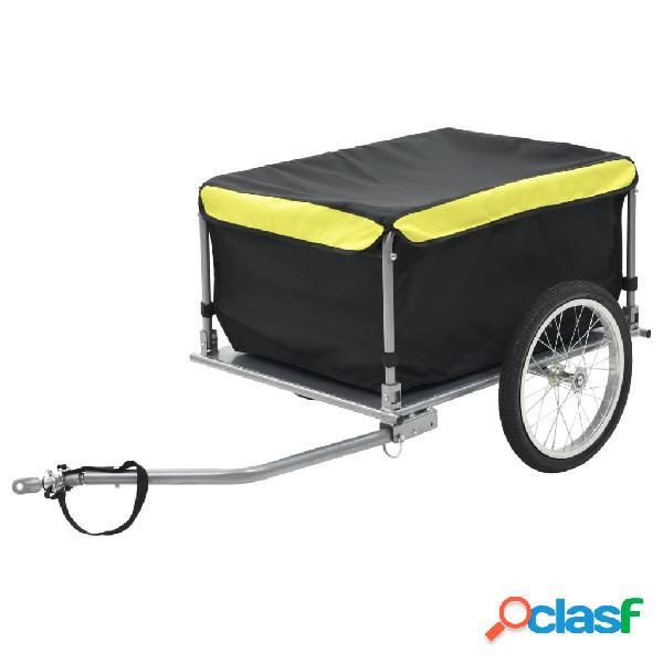 Vidaxl reboque de carga para bicicleta preto e amarelo 65 kg