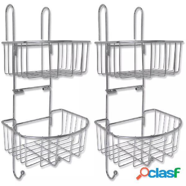 Vidaxl prateleiras de duche bipartidas, 2 pcs, metal