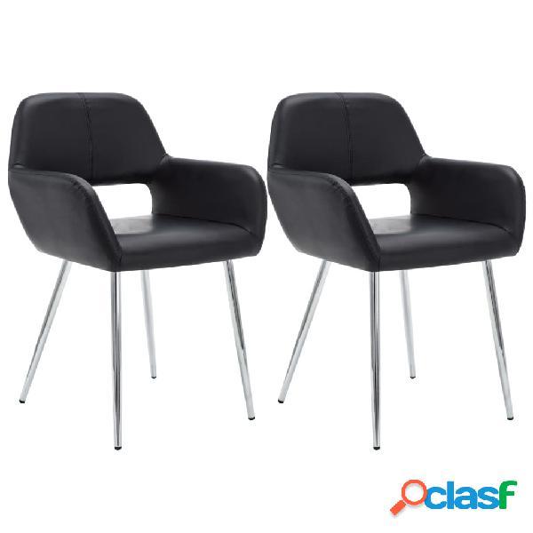 Vidaxl cadeiras jantar 2 pcs estofos couro artificial 57x54x81cm preto