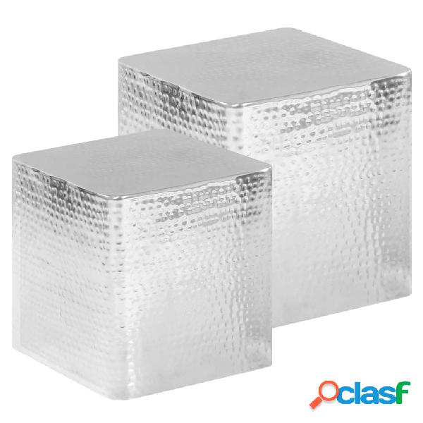 Vidaxl mesas de centro 2 pcs alumínio prateado