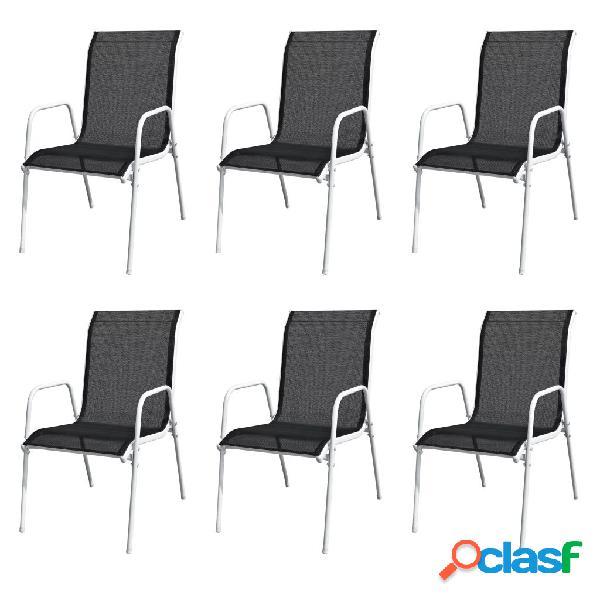 Vidaxl cadeiras de jardim empilháveis 6 pcs aço e textilene preto